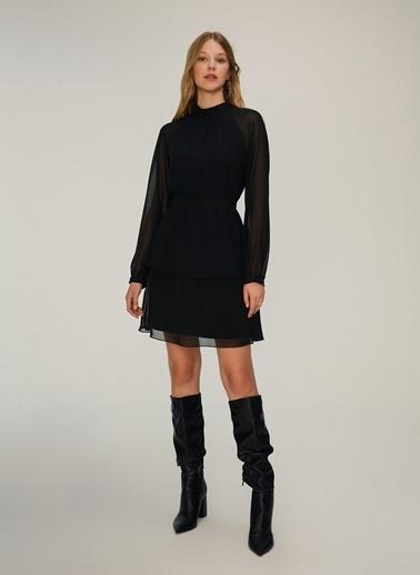 NGSTYLE Kadın Volan Detaylı  Elbise NGKAW20EL0019 Siyah